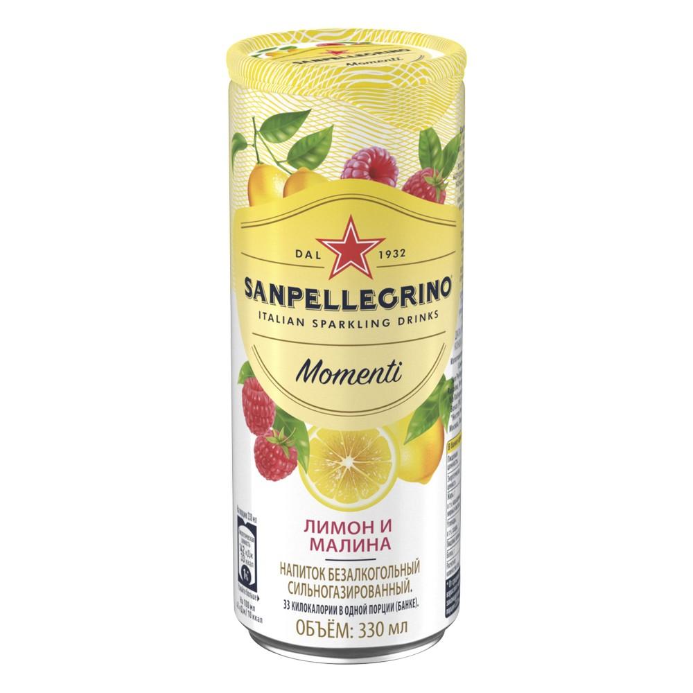 Напиток газ сокосод С.Пеллегрино Моменти лимон-малина ал/б 0.330