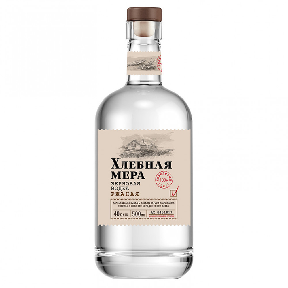 Водка Хлебная Мера Ржаная 0.500